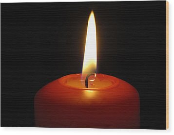 Red Candle Burning Wood Print by Matthias Hauser