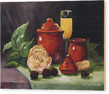 Wood Print featuring the painting Red Candle Jars by Carol Hart