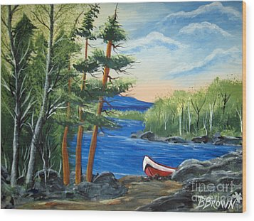 Wood Print featuring the painting Red Canoe by Brenda Brown