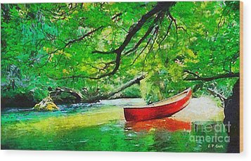 Red Canoe Wood Print by Elizabeth Coats