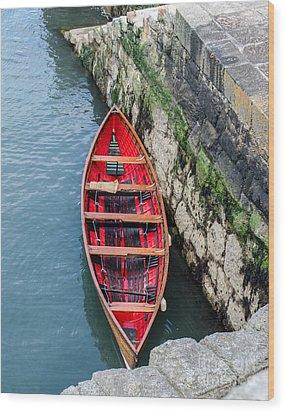 Red Canoe Wood Print by Mary Carol Story
