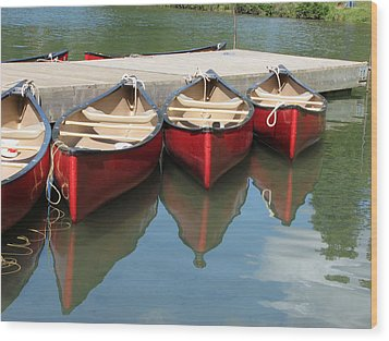 Wood Print featuring the photograph Red Canoes by Marcia Socolik