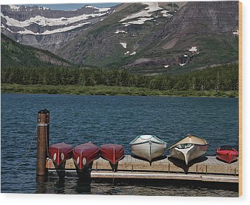 Red Canoes On The Lake Wood Print by Sandra Anderson