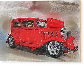 Red Car Wood Print by Debra Baldwin