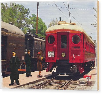 Red Car Long Beach And San Pedro Wood Print by Timothy Bulone