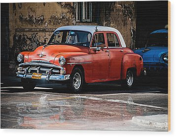 Red Car On Wet Street Wood Print
