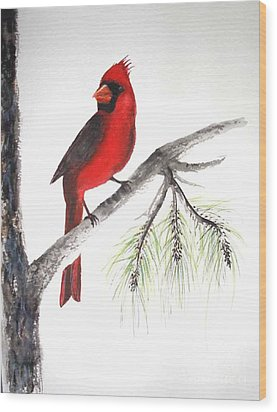 Wood Print featuring the painting Red Cardinal by Sibby S