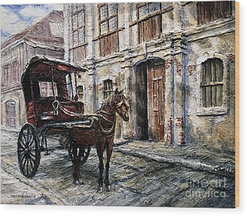 Red Carriage Wood Print by Joey Agbayani