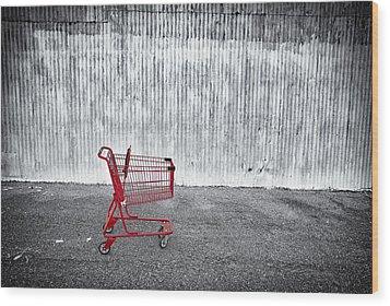 Red Cart Wood Print