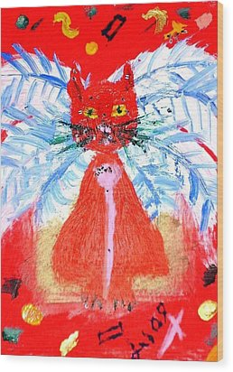 Red Cat I Wood Print by Leslie Byrne