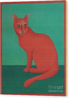 Red Cat Wood Print by Pamela Clements