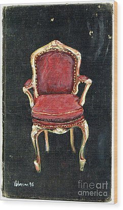 Red Chair Wood Print by Cathy Peterson