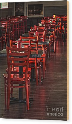 Wood Print featuring the photograph Red Chairs by Vicki DeVico