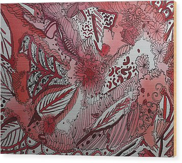 Red Chakra Wood Print by Terry Holliday