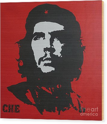 Red Che Wood Print by ID Goodall