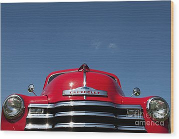 Red Chevrolet 3100 1953 Pickup  Wood Print by Tim Gainey
