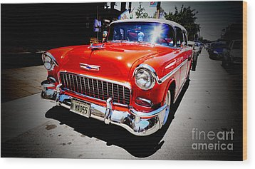 Red Chevrolet Bel Air Wood Print by Nina Prommer