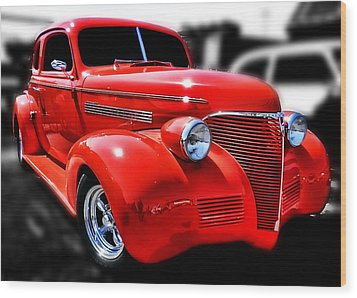 Red Chevy Hot Rod Wood Print by Victor Montgomery