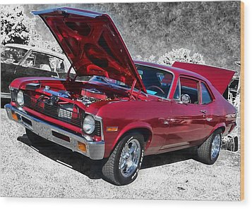 Red Chevy Nova Wood Print by Victor Montgomery
