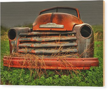 Red Chevy Wood Print by Thomas Young