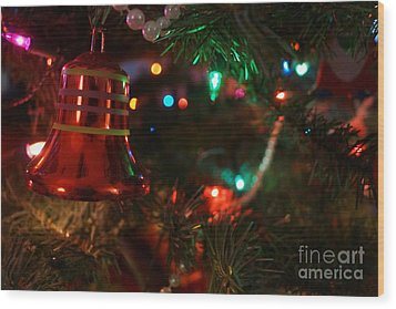 Red Christmas Bell Wood Print