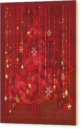 Wood Print featuring the digital art Red Christmas Tree by Arline Wagner