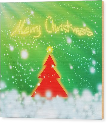 Red Christmas Tree Wood Print by Atiketta Sangasaeng