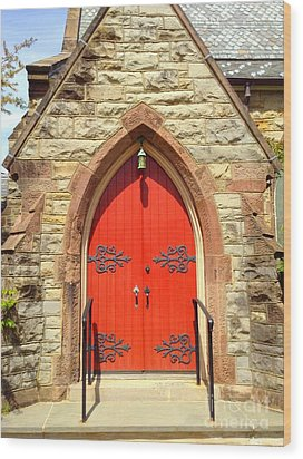 Wood Print featuring the photograph Red Church Door by Becky Lupe