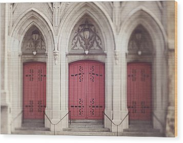 Red Church Doors Wood Print