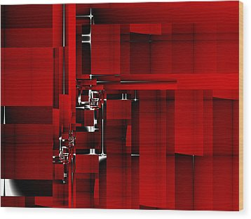 Red Construction I Wood Print by Richard Ortolano
