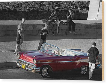 Red Convertible II Wood Print by Patrick Boening