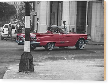 Red Convertible Wood Print by Patrick Boening