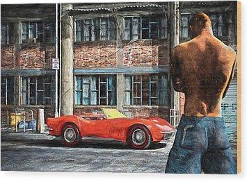 Red Corvette Wood Print by Bob Orsillo