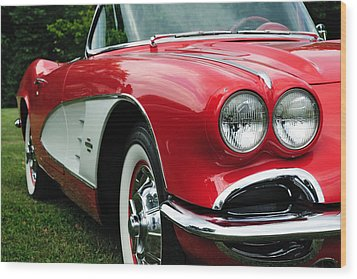 Red Corvette Wood Print by John Kiss
