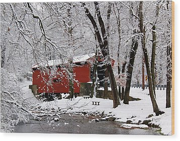 Red Covered Bridge Winter 2013 Wood Print