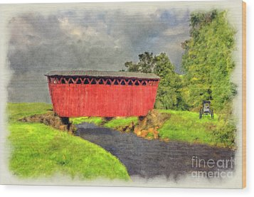 Red Covered Bridge With Car Wood Print by Dan Friend