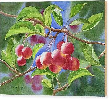 Red Crab Apples With Background Wood Print by Sharon Freeman