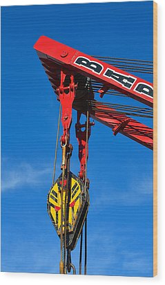 Red Crane - Photography By William Patrick And Sharon Cummings Wood Print by Sharon Cummings