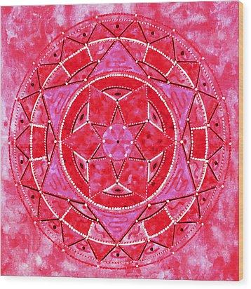 Red Crystal Mandala Wood Print by Vlatka Kelc