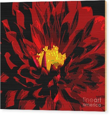 Wood Print featuring the photograph Red Dahlia Abstract by Olivia Hardwicke