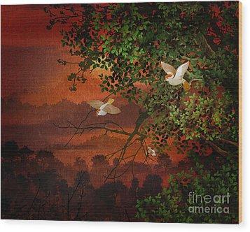 Red Dawn Sparrows Wood Print by Bedros Awak