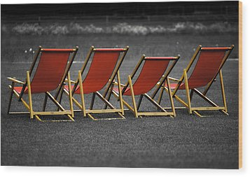 Red Deck Chairs Wood Print by Mikhail Pankov