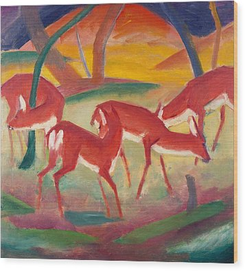 Red Deer 1 Wood Print by Franz Marc