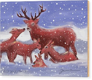 Wood Print featuring the painting Red Deer Family by Jean Pacheco Ravinski
