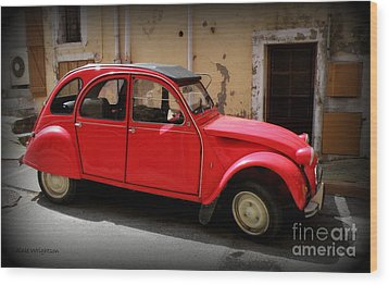 Red Deux Chevaux Wood Print by Lainie Wrightson