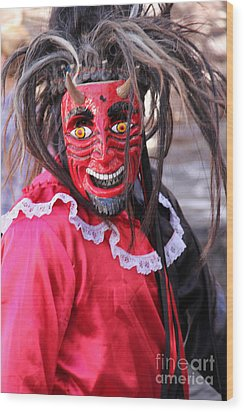 Red Devil At The Santa Prisca Parade Wood Print by Linda Queally