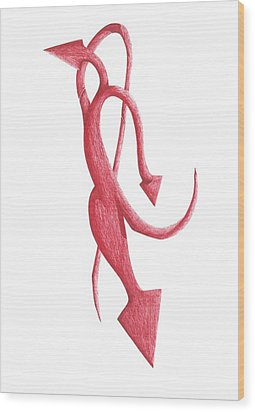 Wood Print featuring the drawing Red Devil by Giuseppe Epifani