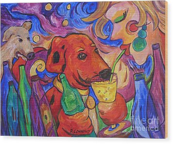 Red Dirk Dog And Rita Drink Wood Print