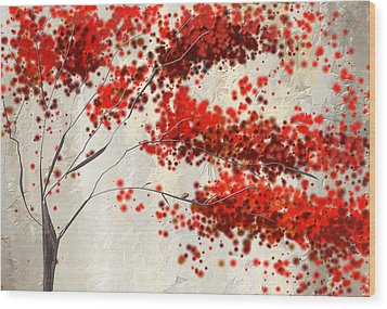Red Divine- Autumn Impressionist Wood Print by Lourry Legarde