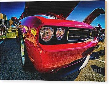 Red Dodge Challenger Vintage Muscle Car Wood Print